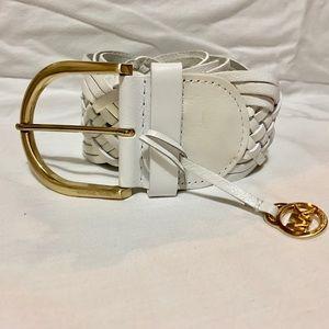 Michael Kors White Leather Belt